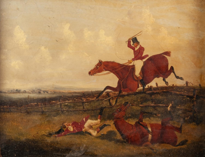 UNATTRIBUTED, (NINETEENTH CENTURY, ENGLISH SCHOOL) PAIR OF OIL PAINTINGS ON BOARD Equestrian hunting - Image 2 of 2