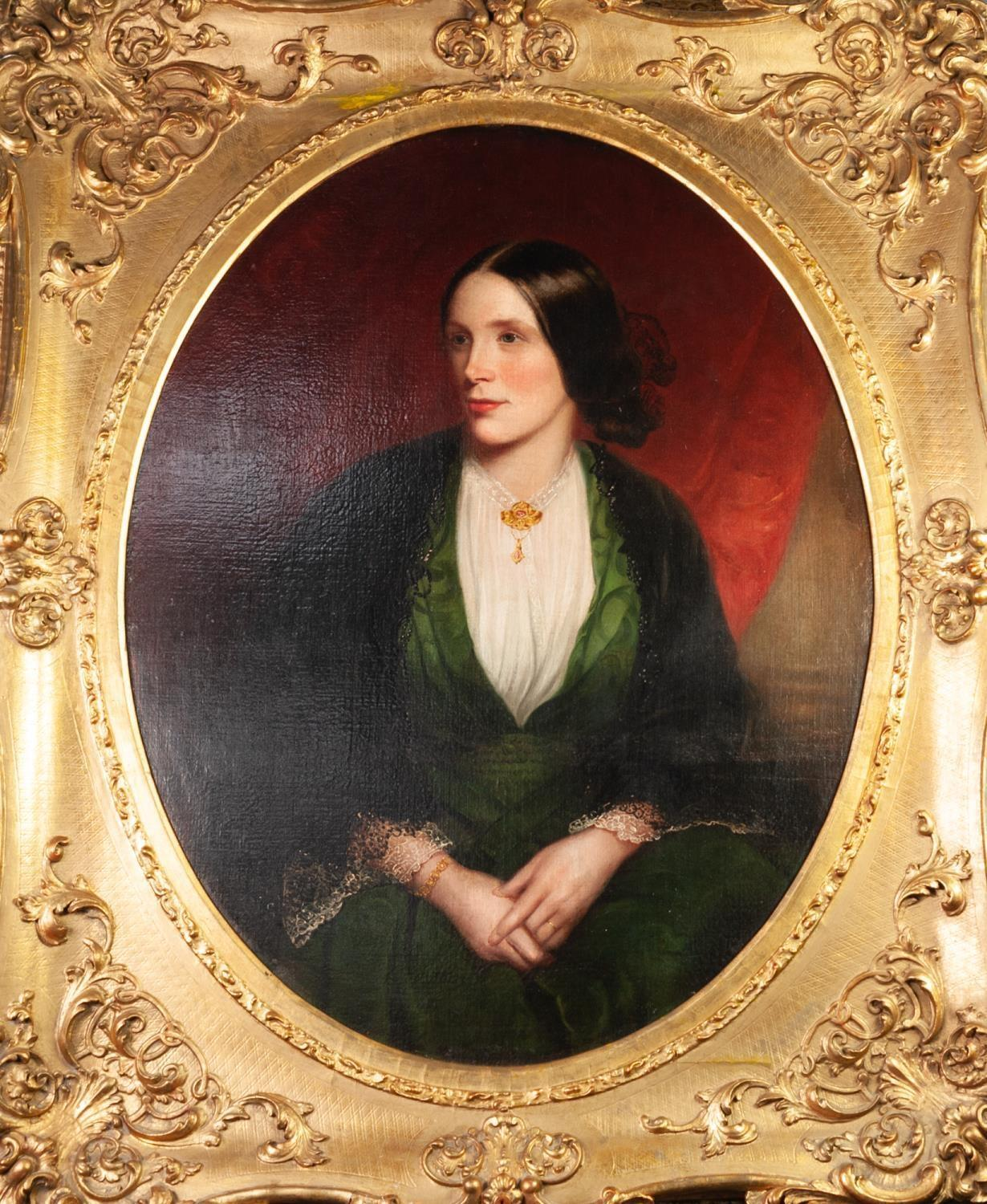 BRITISH SCHOOL (MID 19th CENTURY ) OIL PAINTING ON RE-LINED CANVAS A painted oval portrait of a