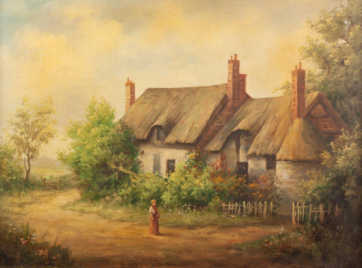 JG ATKINSON EARLY 20th CENTURY OIL PAINTING 'In the Duddon Valley', rural scene, cottage by a - Image 2 of 2