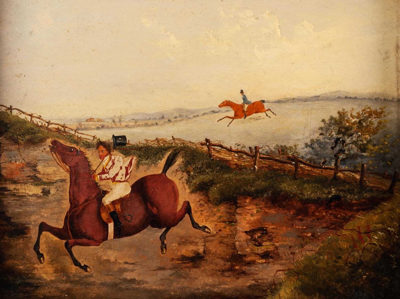 UNATTRIBUTED, (NINETEENTH CENTURY, ENGLISH SCHOOL) PAIR OF OIL PAINTINGS ON BOARD Equestrian hunting