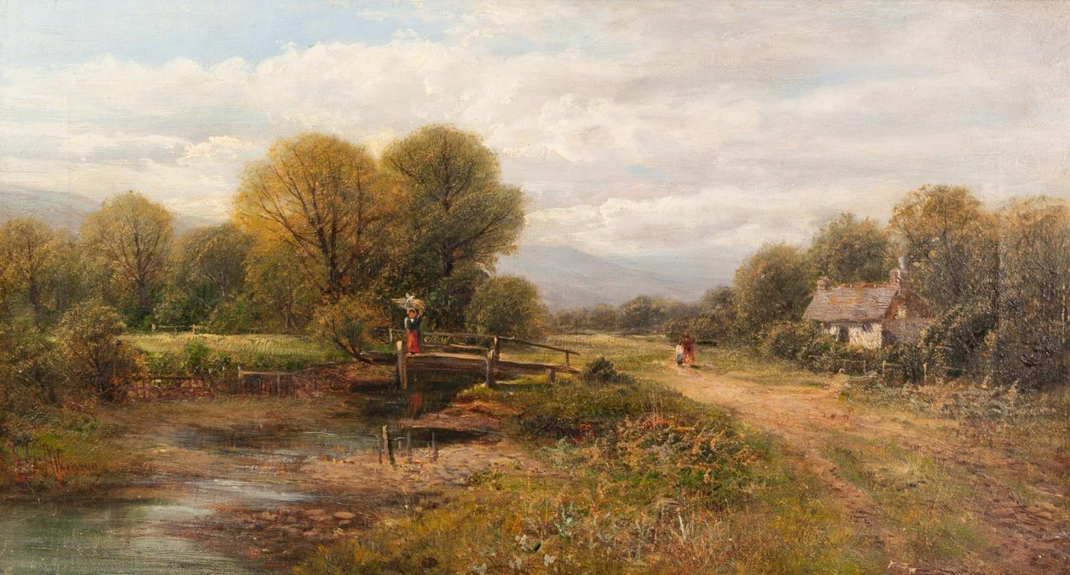 JG ATKINSON EARLY 20th CENTURY OIL PAINTING 'In the Duddon Valley', rural scene, cottage by a