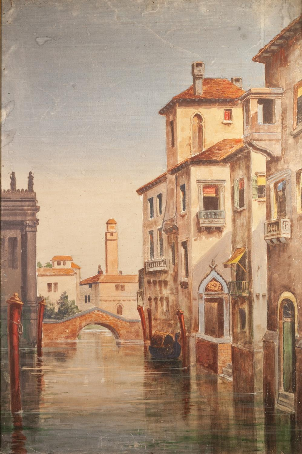 """BRITISH SCHOOL (LATE 19th CENTURY) OIL PAINTING ON CANVAS A pair Venetian back-waters 36"""" x 24"""" ("""