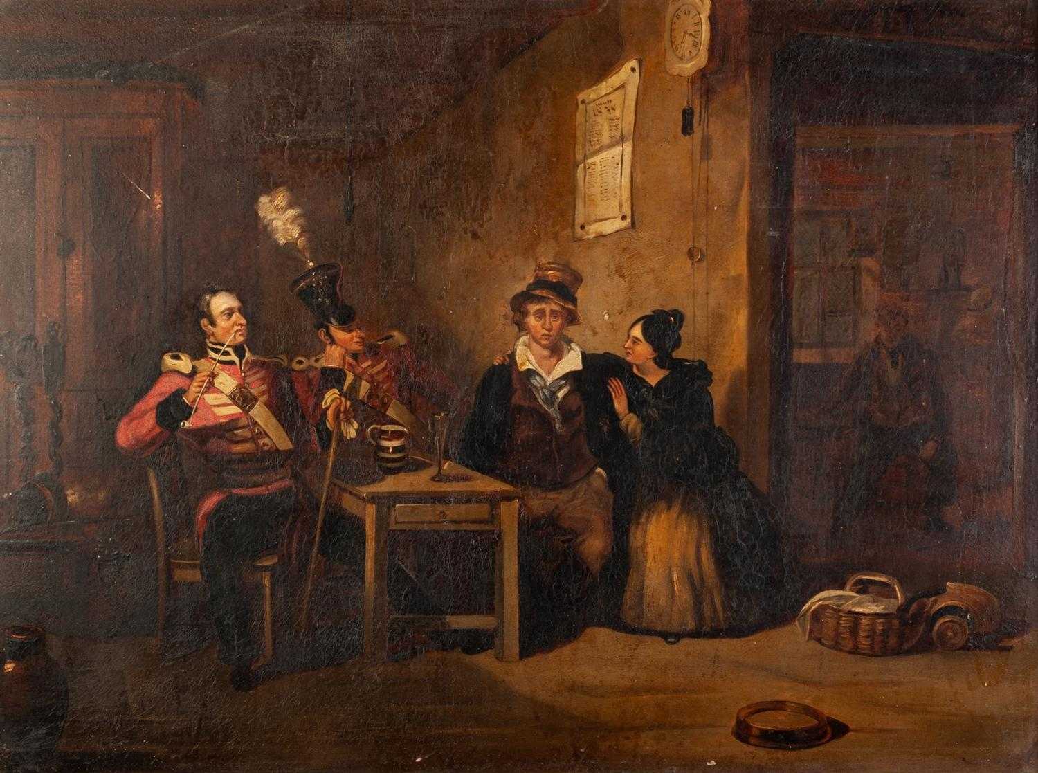"""?HENRY LIVERSEEGE (1803 - 1832) OIL PAINTING ON BOARD THE RECRUIT TAKING THE KINGS SHILLING 18"""" x"""