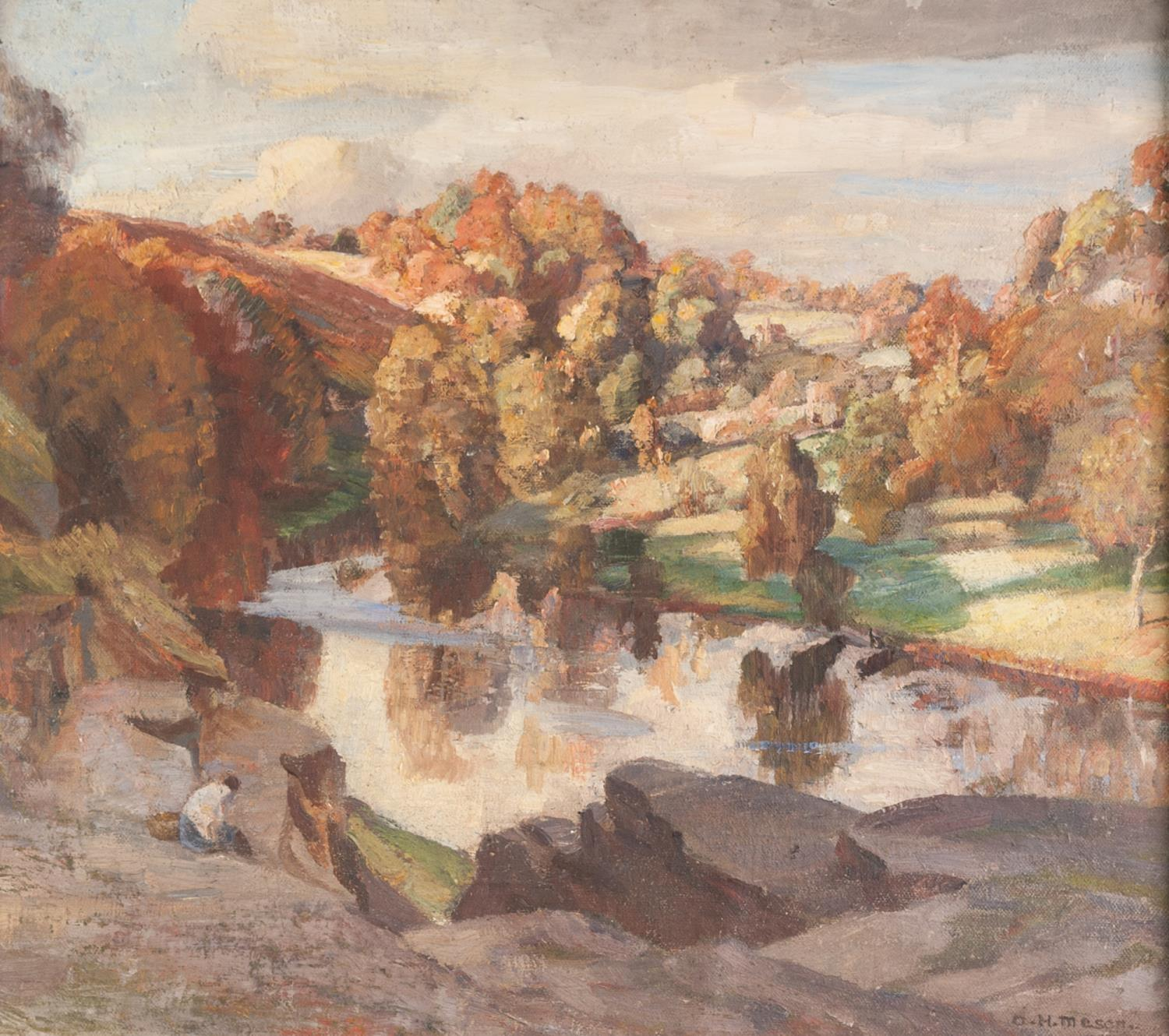 ARNOLD HENRY MASON (1885-1963) OIL PAINTING ON BOARD Tranquil river landscape Signed 15 ½? x 17? (