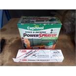 WD - 4084 Cuprinol power sprayer and a caravan tie down awning kit