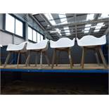 4 white plastic tub style chairs with wooden legs