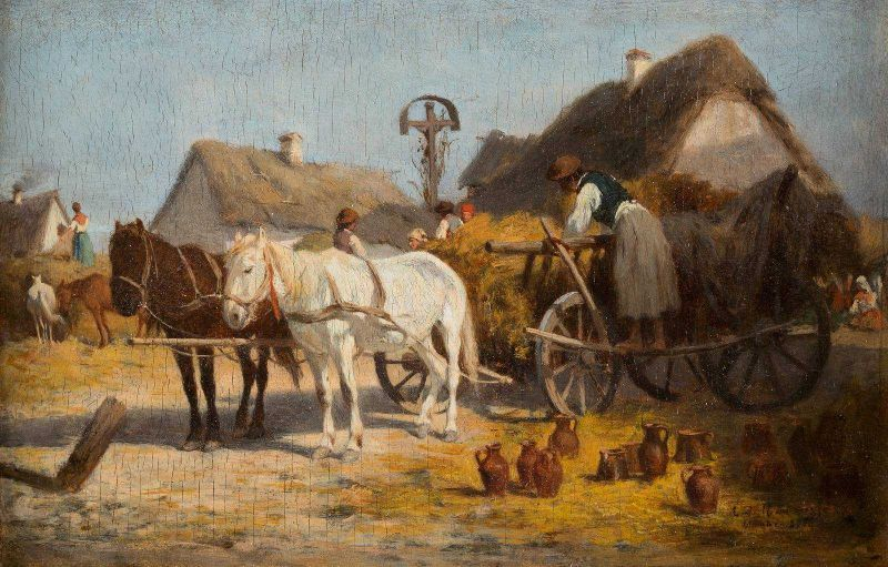 Antonio Montemezzo, Töpfer beim Entladen seiner Ware