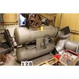 2 STAGE RECIPROCATING AIR COMPRESSOR, 5HP W/ APPROX 50 GAL HORIZONTAL RECIEVING TANKS