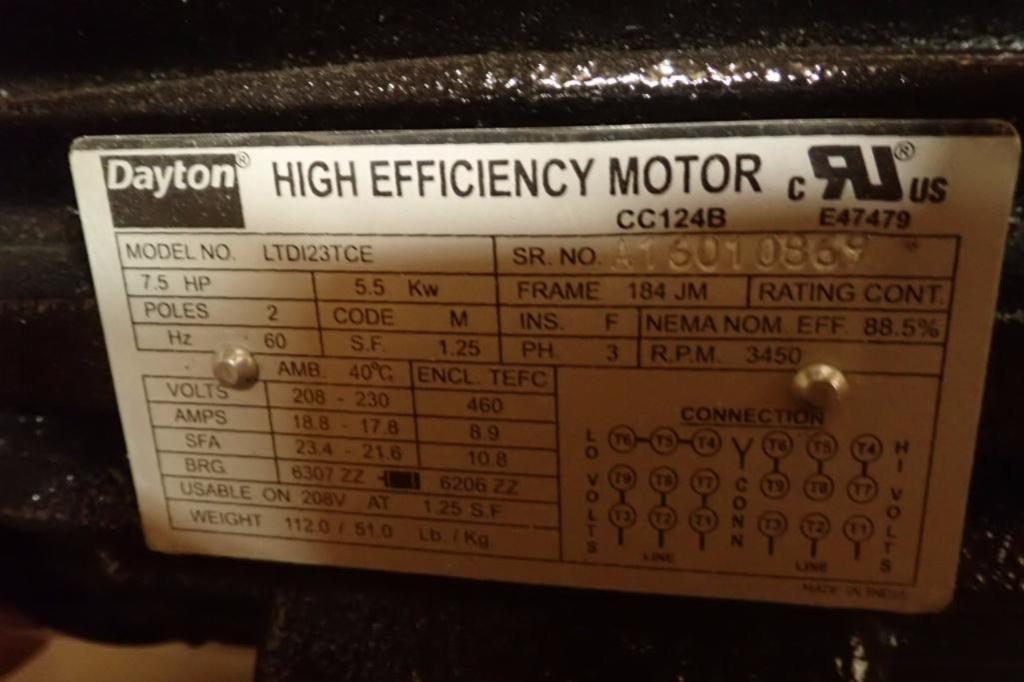 Lot 957 - Unused Dayton 7.5 hp electric motor, 3 ph., Frame 184, 3450 rpm ** Rigging Fee: $10 **