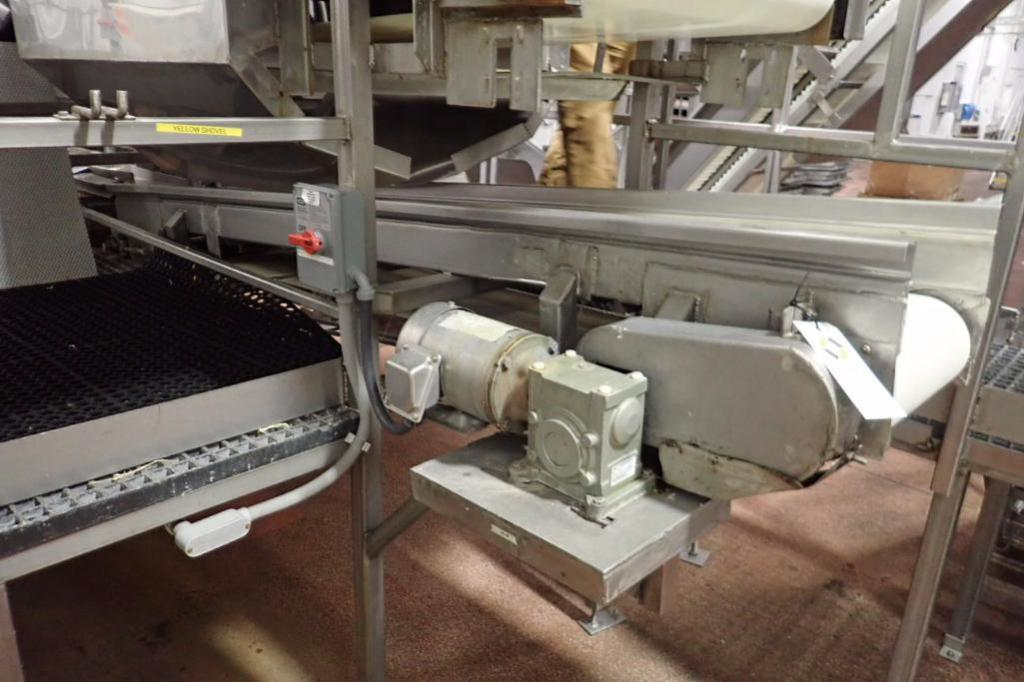 Lot 1009 - Belt conveyor, 108 in. long x 15 in. wide, vinyl belt, SS frame, motor and drive, no legs ** Rigging