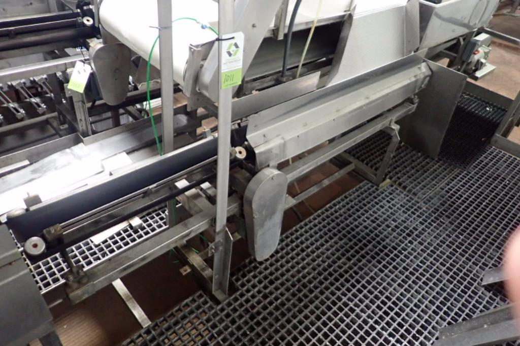 Lot 1011 - Easy speedy trough belt conveyor, 90 in. long, SS frame, motor and drive ** Rigging Fee: $200 **
