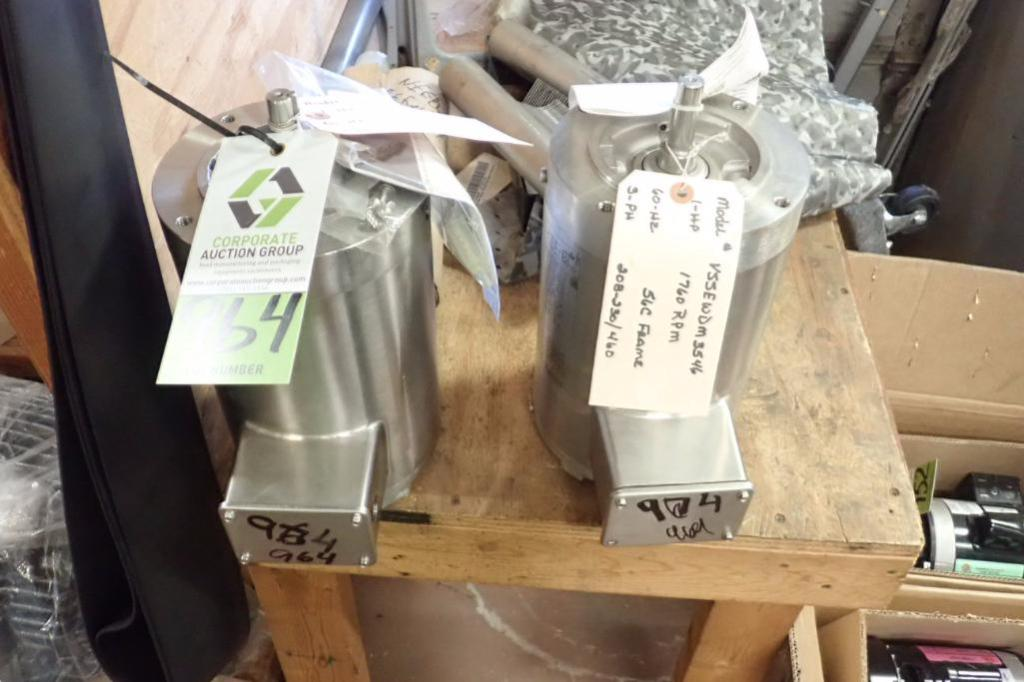 Lot 964 - New SS washdown 1 hp electric washdown motors, 3 ph., Frame 56C, 1760 rpm ** Rigging Fee: $10 **