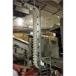 Incline Z conveyor, 48 in. long x 32 in. tall bottom leg, 36 in. long x 13 ft. tall top leg, plastic