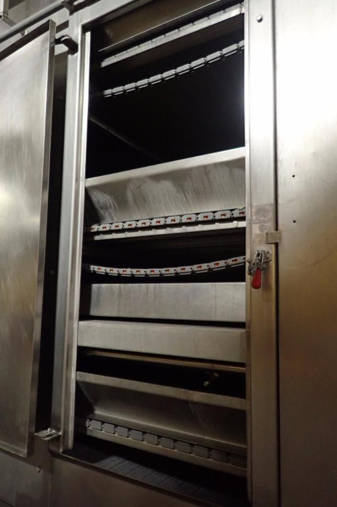 Lot 1020 - SS de-salting conveyor, 3 tiers, 30 ft. long x 48 in. wide x 108 in. tall, SS brine tank 144 in. lon