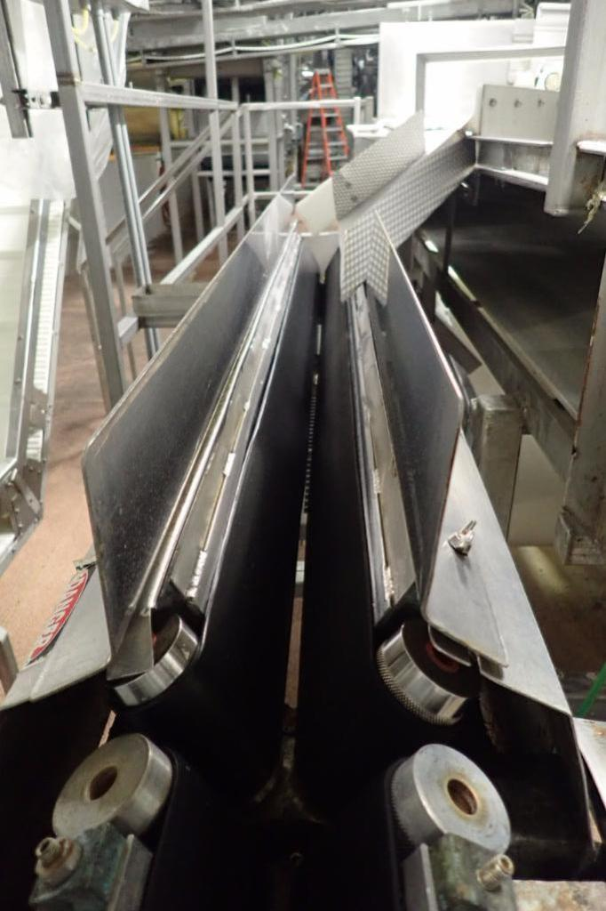 Lot 1013 - Easy speedy v-trough belt conveyor, 90 in. long, SS frame, motor and drive ** Rigging Fee: $200 **
