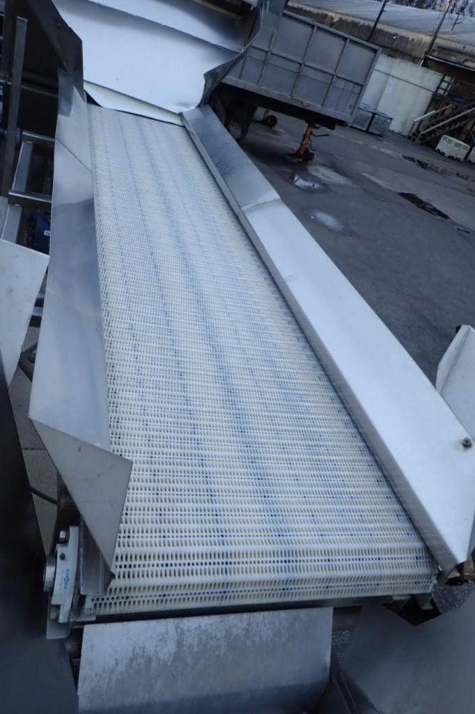 Lot 1002 - Commercial manufacturing conveyor, 132 in. long x 30 in. wide x 84 in. tall, plastic belt, SS frame,