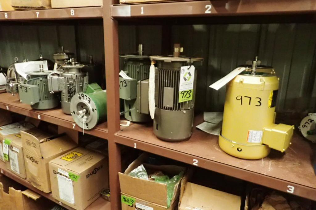 Lot 973 - (9) assorted electric motors, 1 hp to 3 hp, several new ones ** Rigging Fee: $25 **