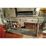 Bi-directional conveyor, plastic belt, 132 in. long x 18 in. wide x 45 in. tall, SS frame, motor and
