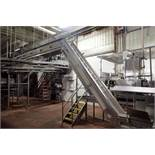 Bryant incline Z conveyor, 27 ft. long x 18 in. wide x 32 in. infeed x 12 ft. discharge, plastic fli