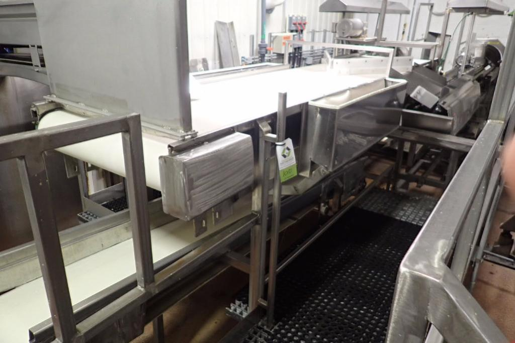 Lot 1010 - Belt conveyor, 140 in. long x 29 in. wide, vinyl belt, SS frame, motor and drive, no legs ** Rigging