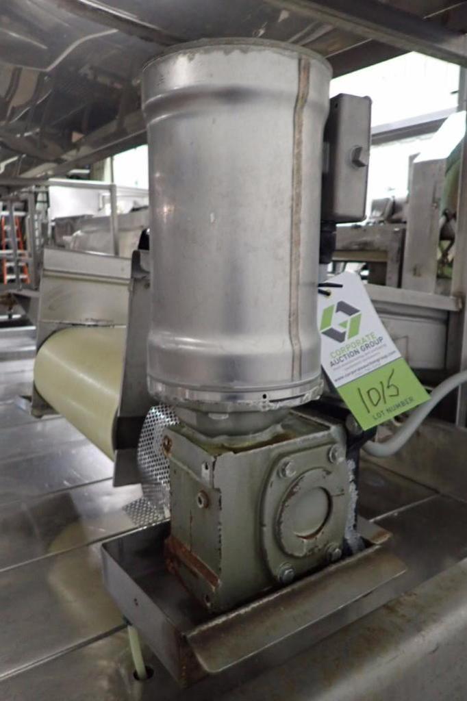 Lot 1015 - Belt conveyor, 120 in. long x 16 in. wide, vinyl belt, SS frame, SS washdown motor and drive, no leg