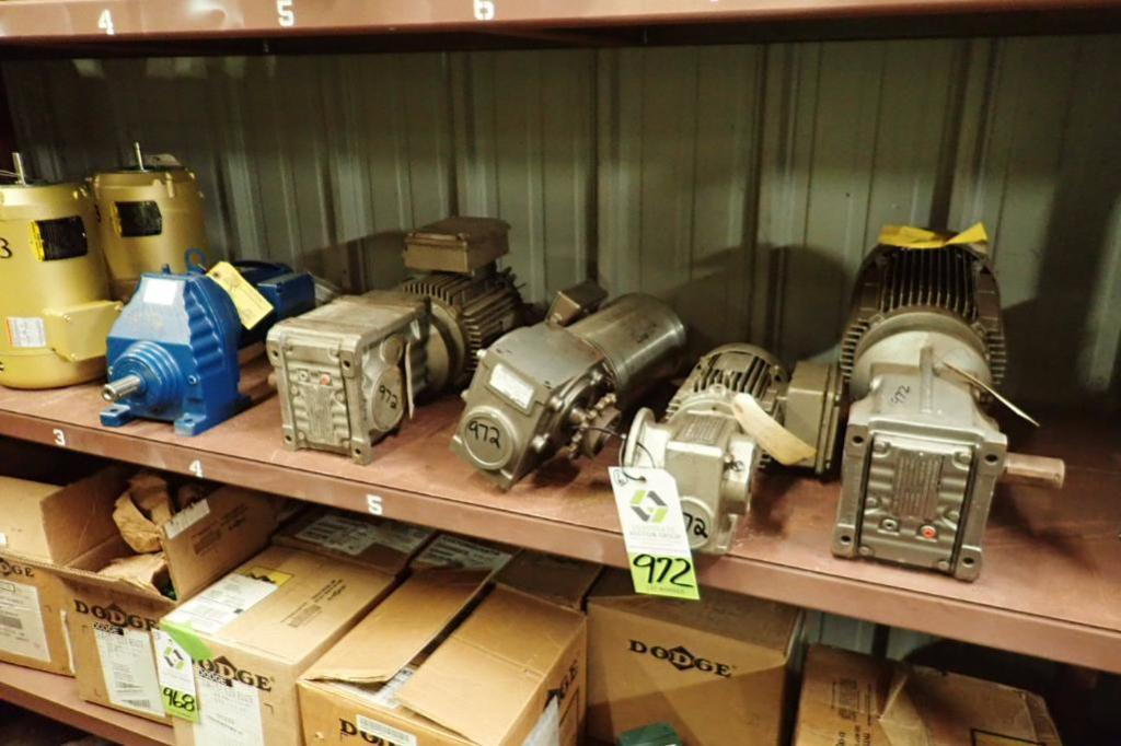 Lot 972 - (6) assorted gear reducers and motors ** Rigging Fee: $25 **