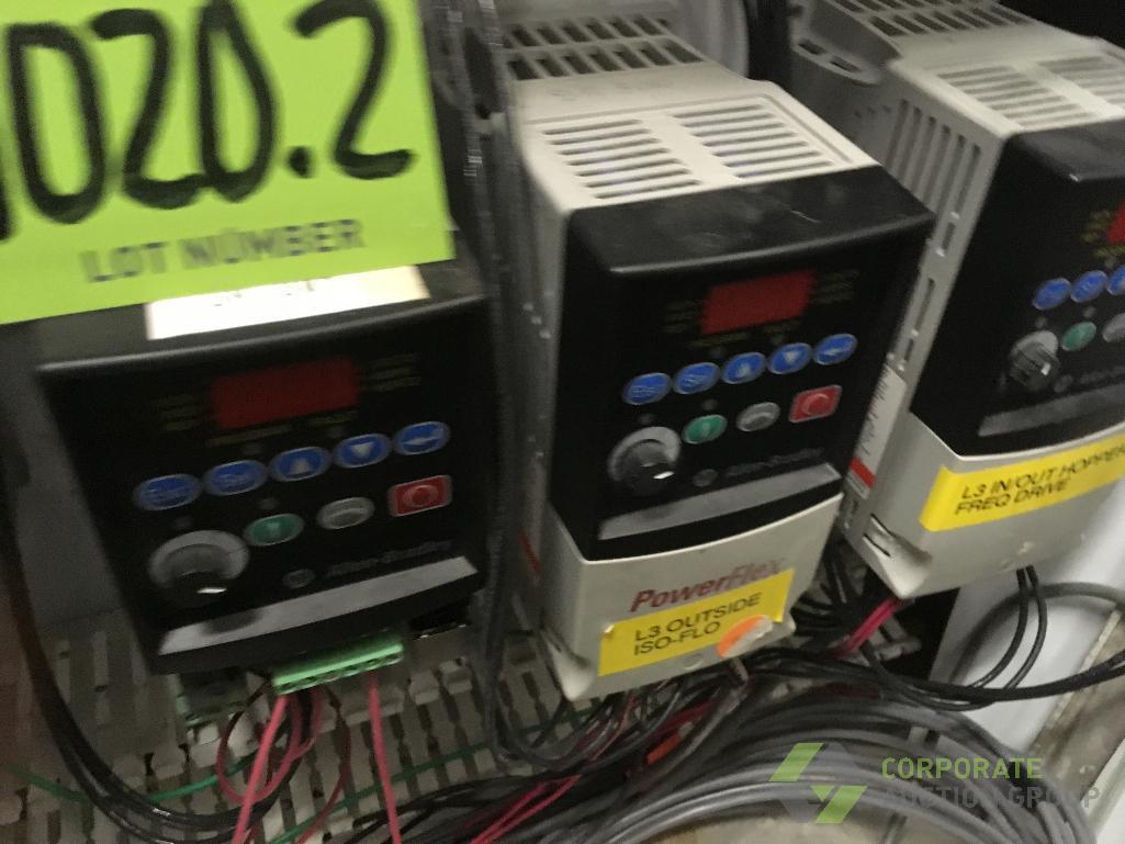 Lot 1020.2 - Contents only of control cabinet: (4) Allen Bradley VFD's, (1) Allen Bradley SLC 5/04 PLC