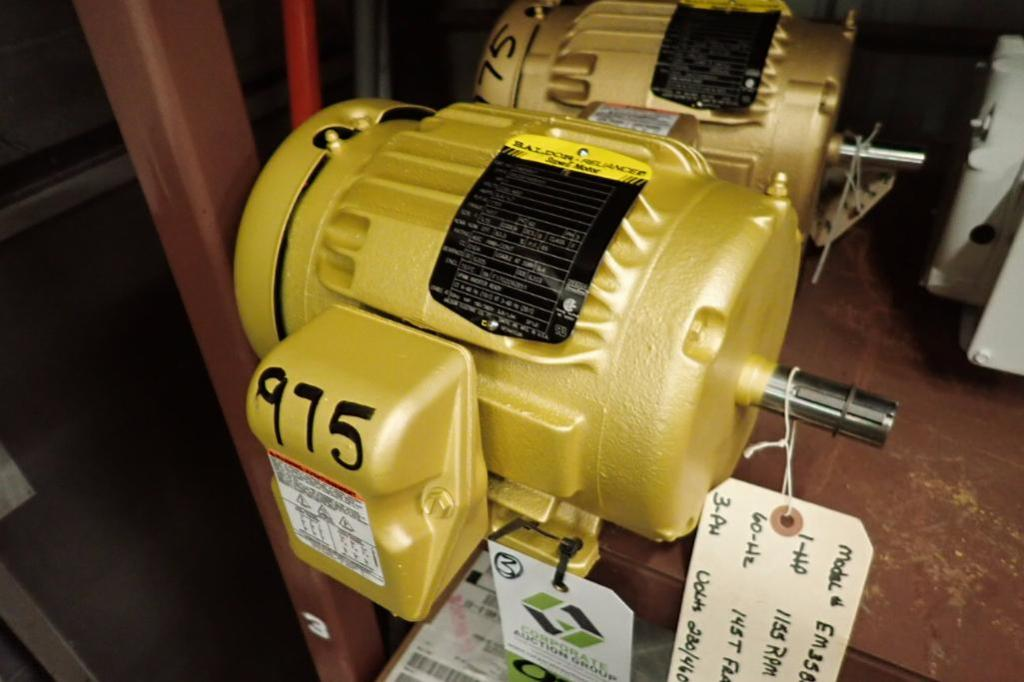 Lot 975 - (3) Baldor 1 hp electric motors ** Rigging Fee: $20 **