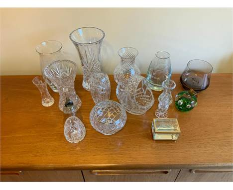 Cut Glass Vases, Paperweight etc