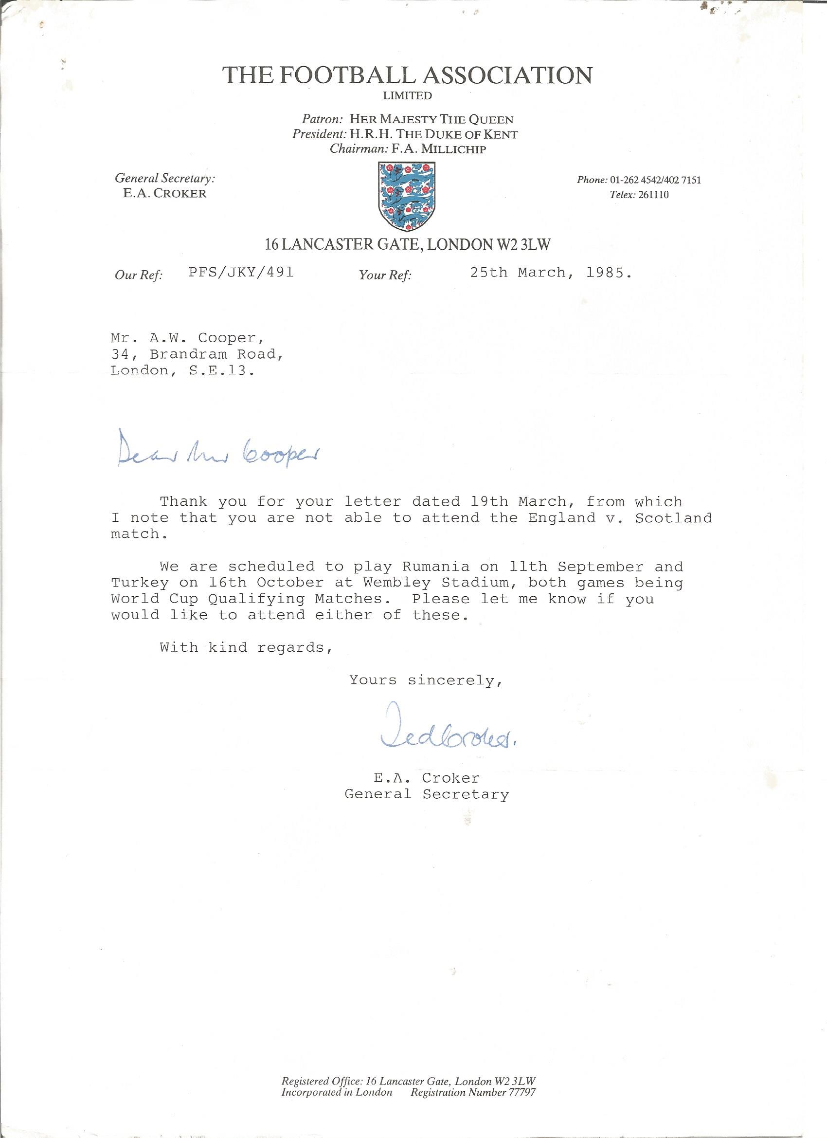 Lot 54 - Ted Croker typed signed letter to WW2 author Alan Cooper on Football Association letterhead 1985.