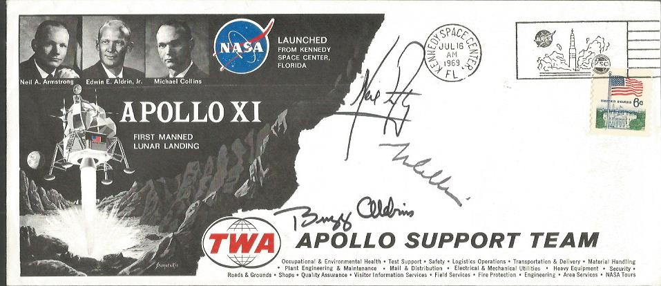 Lot 31 - Apollo XI 1969 TWA Support FDC signed Neil Armstrong, Buzz Aldrin & Michael Collins. Good Condition.