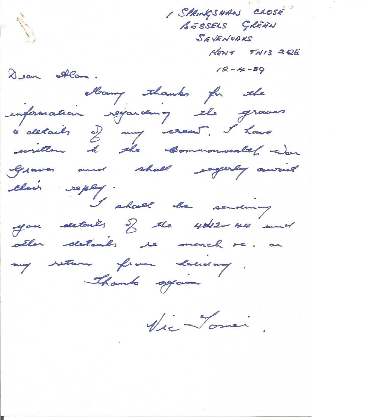 Lot 57 - Flt Sgt Victor Tomei 57 sqn shot down in Lancaster NG145 handwritten letter to WW2 author Alan