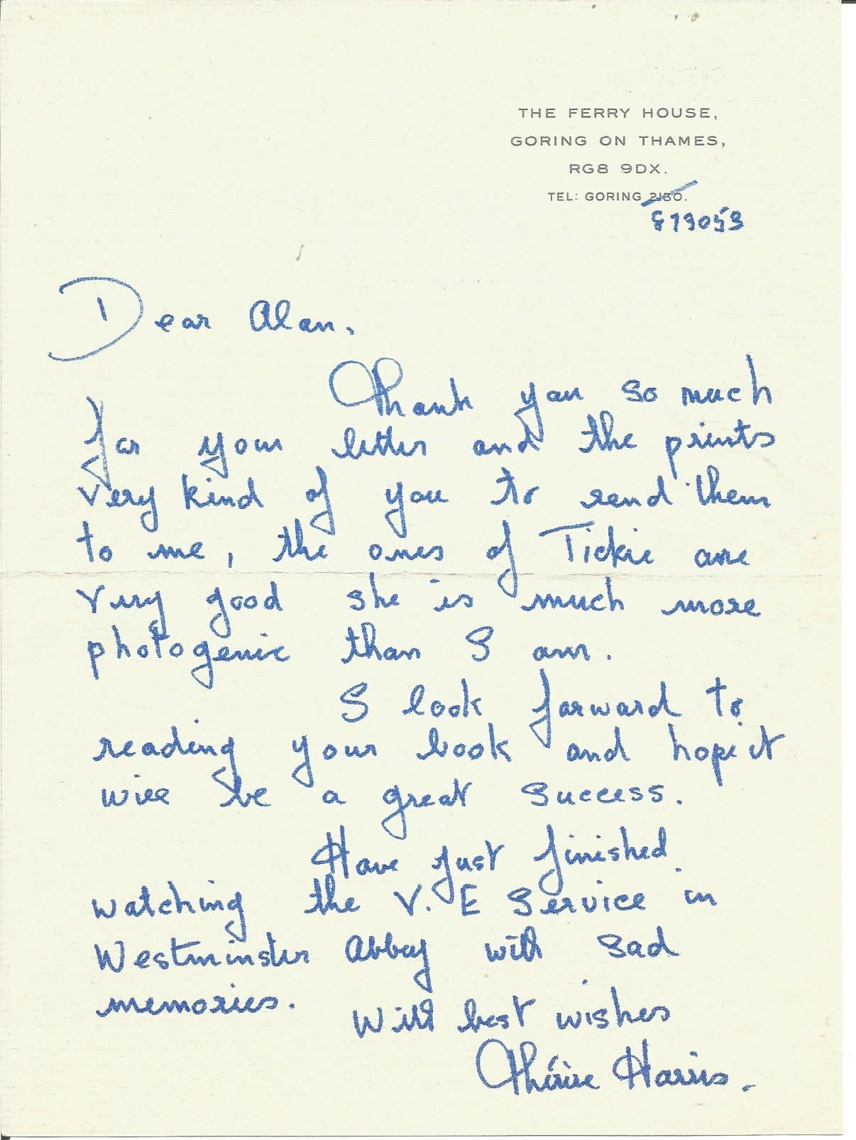 Lot 51 - Theresa Harris wife of Arthur Harris handwritten 1984 letter to WW2 author Alan Cooper regarding his