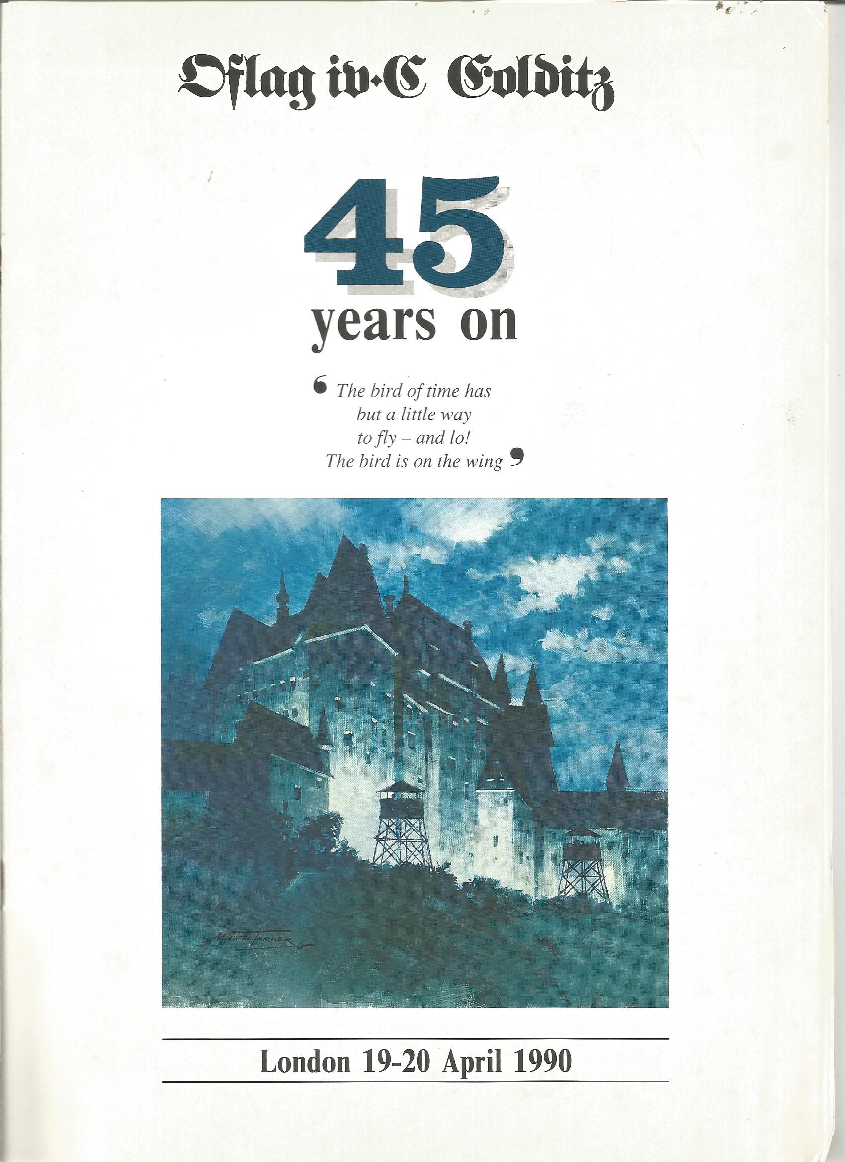 Lot 34 - Colditz Castle multiple signed 1990 reunion programme signed by 2 former inmates Pat Reid and