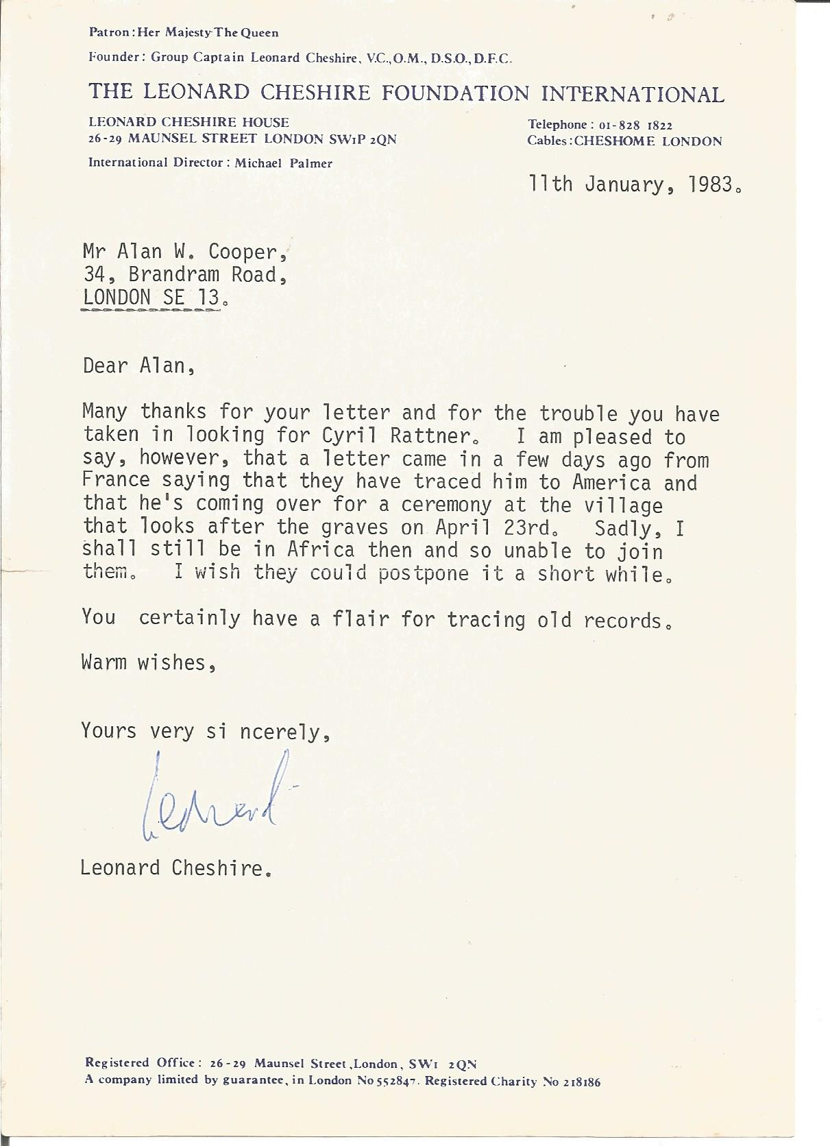 Lot 55 - Leonard Cheshire VC typed signed letter to WW2 author Alan Cooper regarding looking for Cyril Ratner