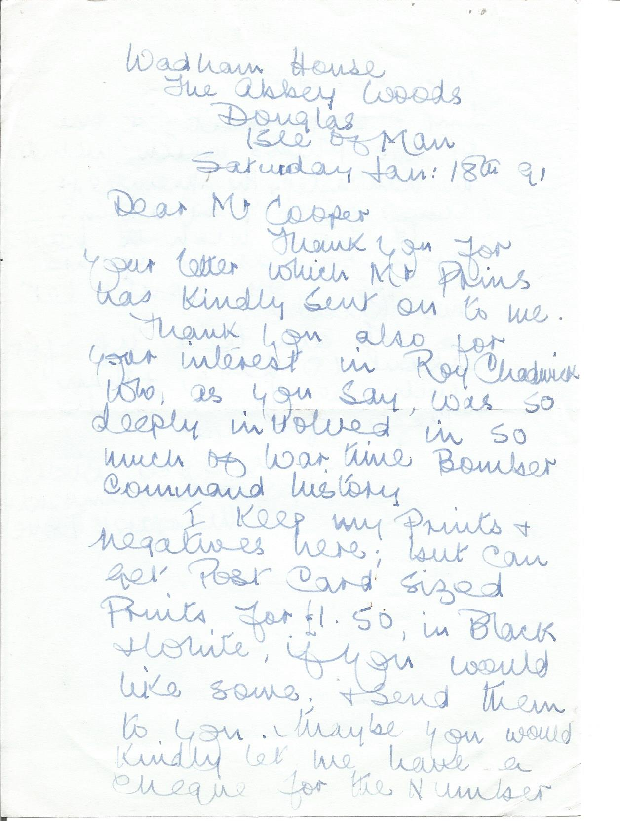 Lot 52 - Margaret Dove daughter of Roy Chadwick handwritten letter about his interest in Chadwick. Good