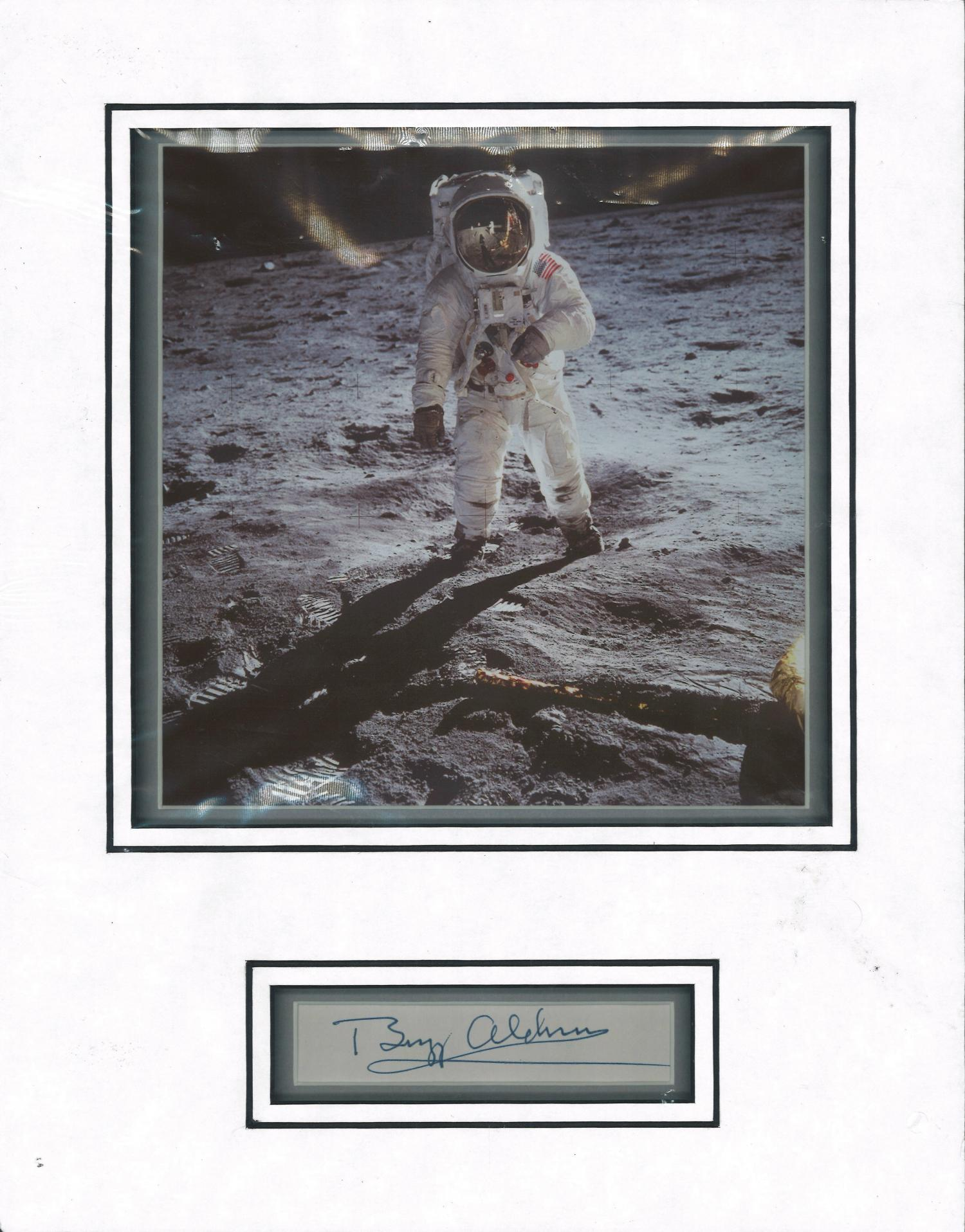 Lot 27 - Buzz Aldrin genuine authentic signed display. Good Condition. All signed pieces come with a