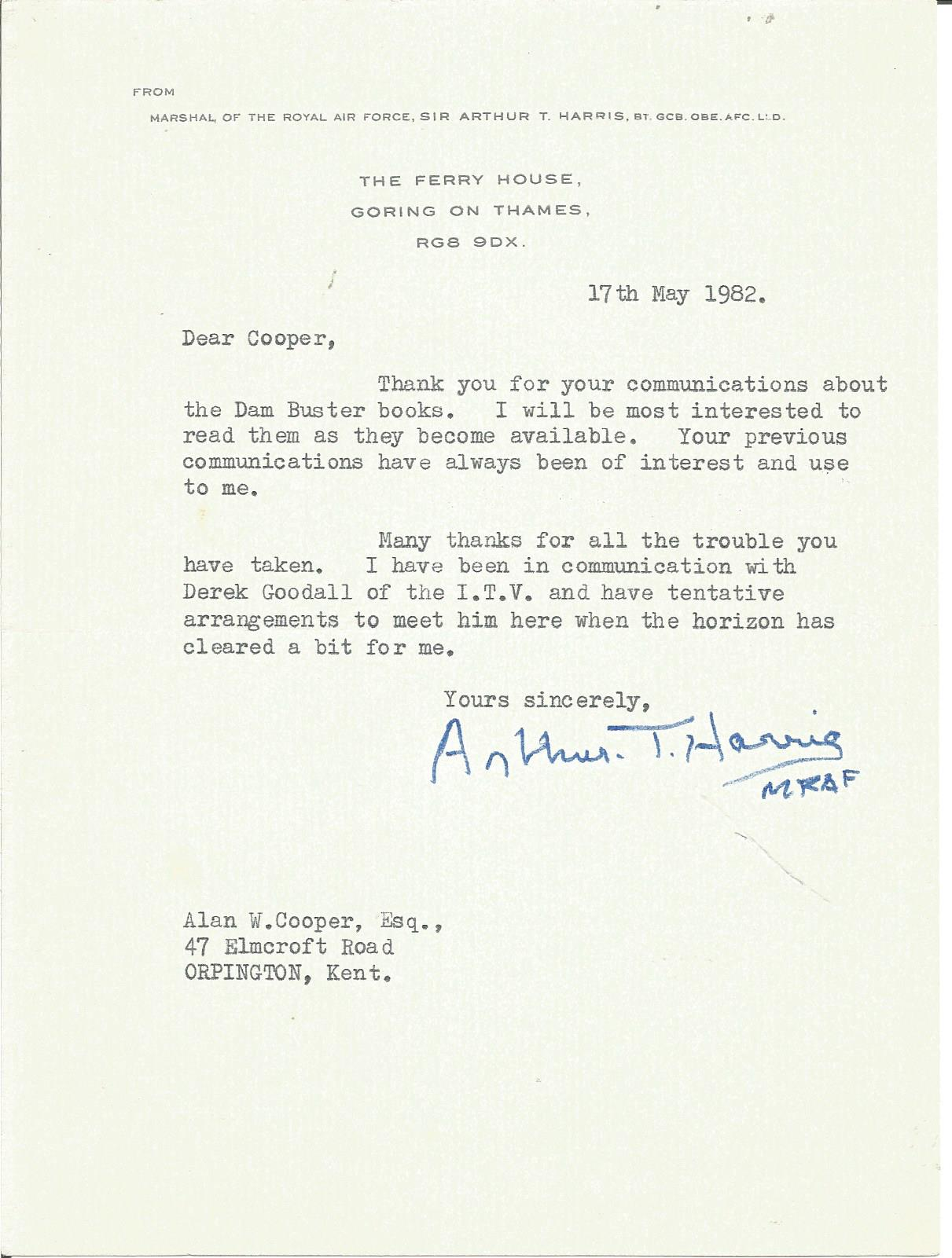 Lot 56 - Sir Arthur Harris typed signed letter to WW2 author Alan Cooper regarding his Dam Busters books.
