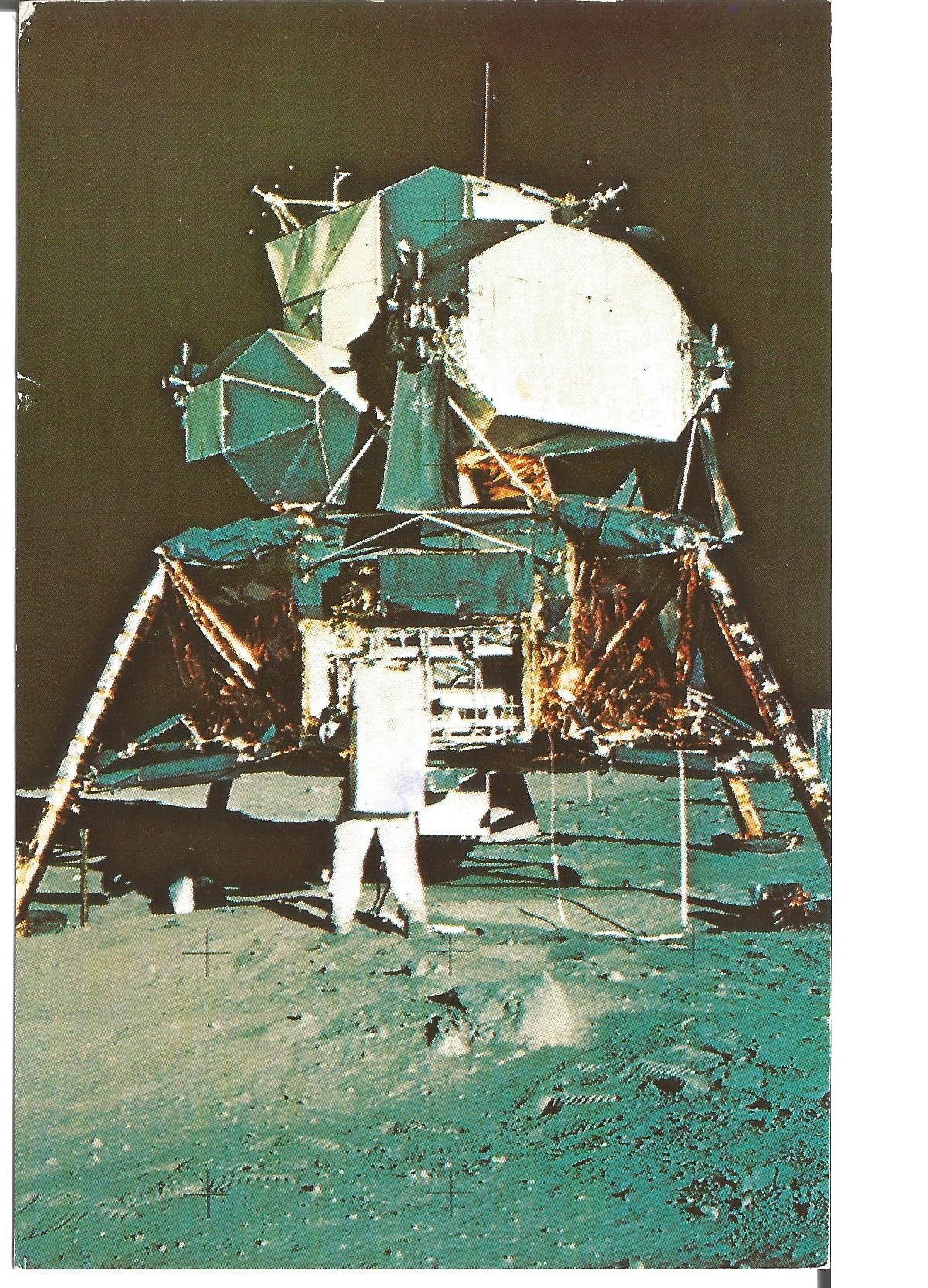 Lot 37 - Buzz Aldrin signed on back of postcard. Good Condition. All signed pieces come with a Certificate of