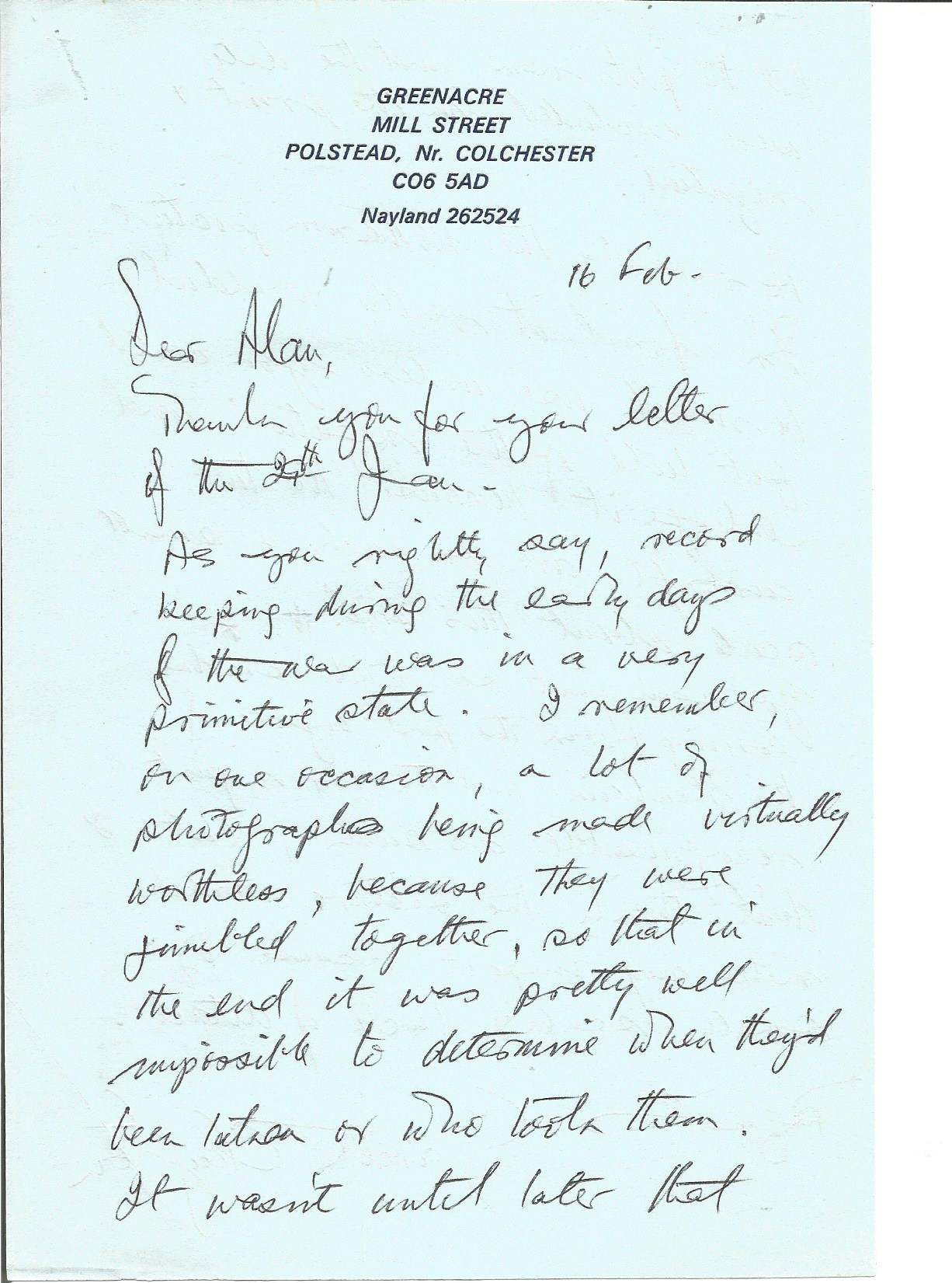 Lot 53 - Air Marshall Sir Gareth Clayton handwritten letter to WW2 author Alan Cooper regarding papers at the