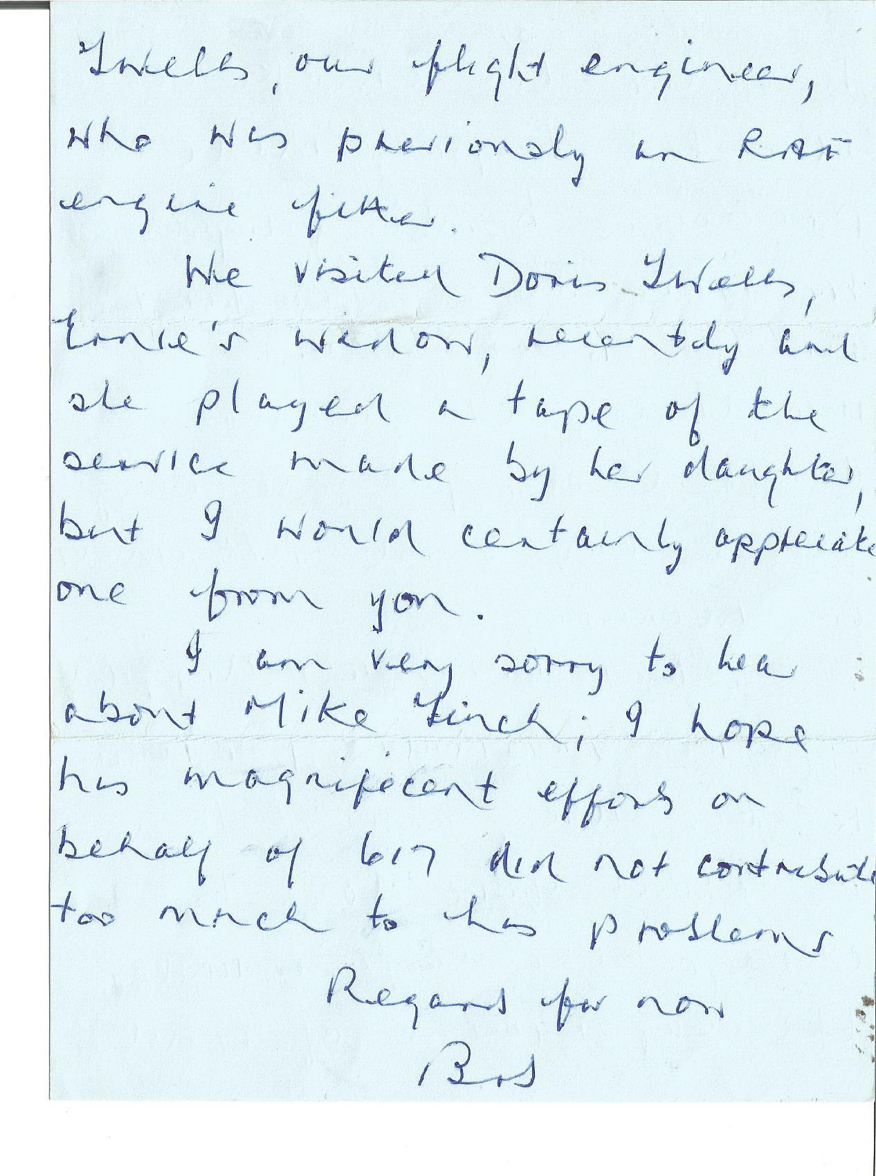Lot 60 - Tirpitz raider Bob Knights DFC 617 sqn hand written letter to Jim Shortland Dambuster WW2 Historian.