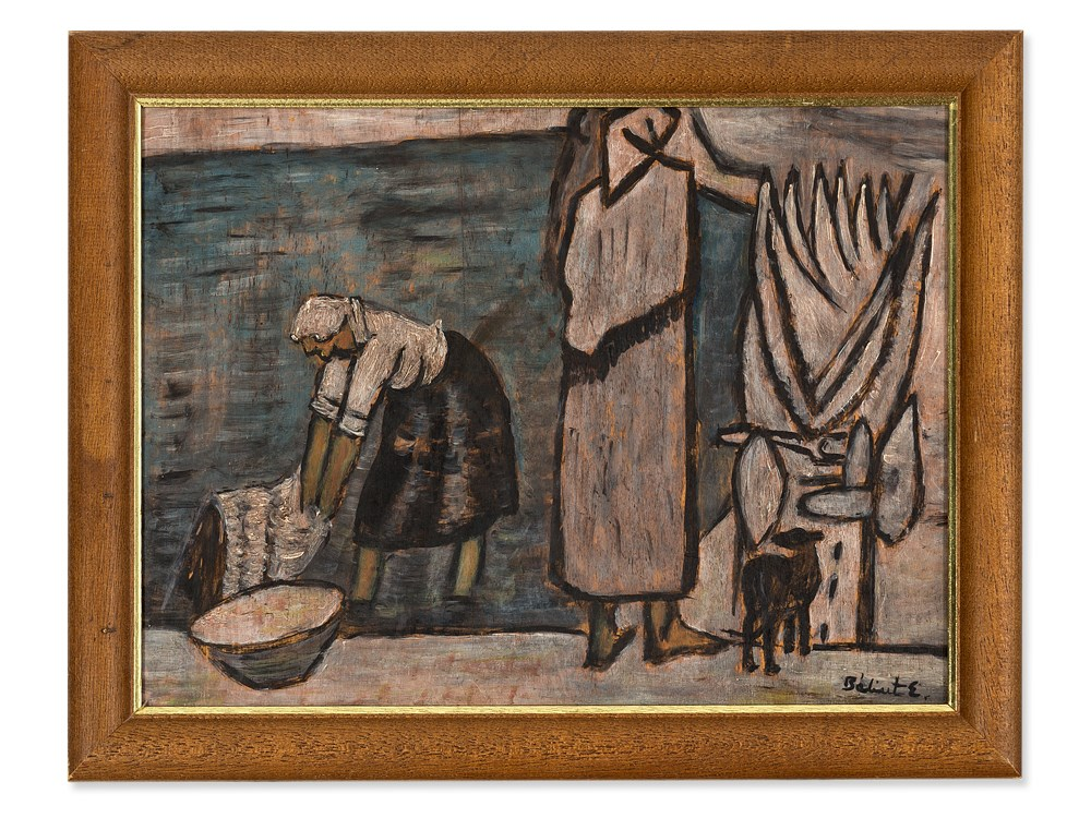 Endre Bálint, Oil Painting, Laundress at the Shore, 20th C. Oil on ...