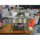 Lot of (2) 4 qt square chafing dishes with brass handles, 9 1/2 in. x 11 1/2 in.
