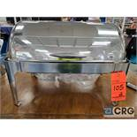 Lot of (2) 8 qt stainless brass handle rolltop chafers with 4 in. deep pan, 12 x 20
