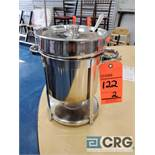 Lot of (2) 7 Qt round stainless soup chafers with soup ladle
