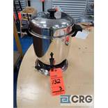 Lot of (3) assorted 36 cup stainless coffee makers