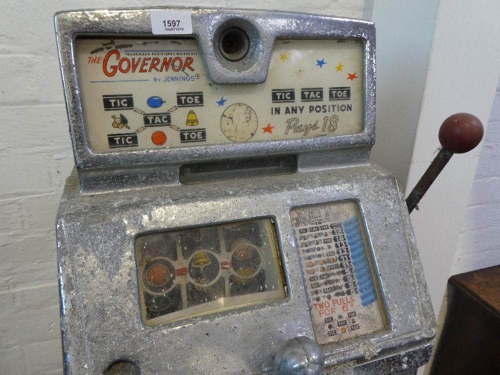 The Governor Sun Chief slot machine by Jennings and Co circa 1960 with stand having footr from - Image 2 of 2