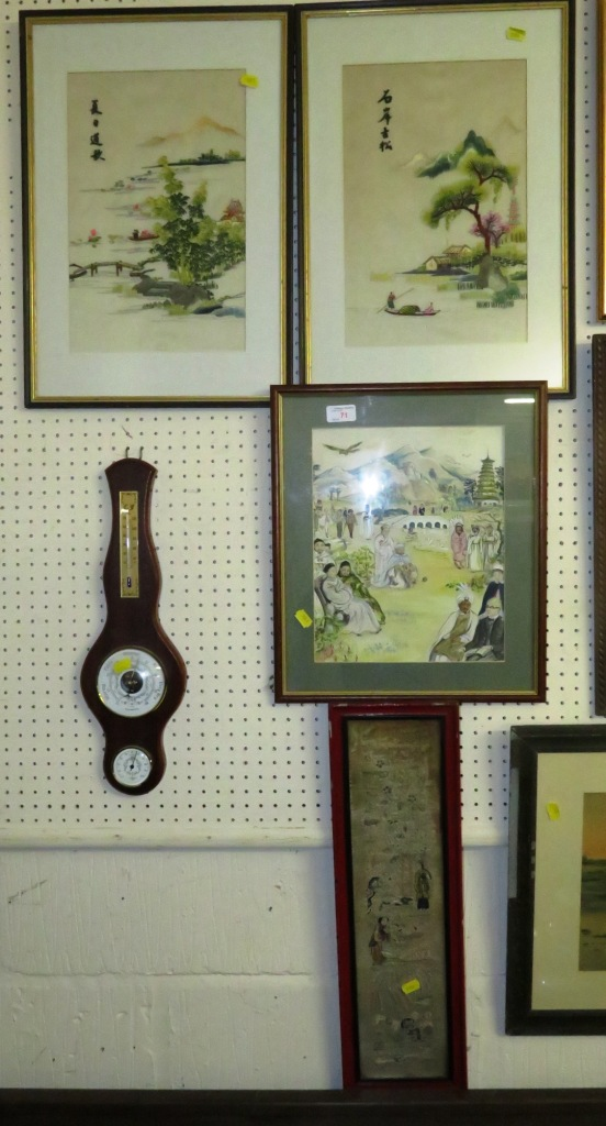 Lot 71 - FRAMED AND MOUNTED WATERCOLOUR OF VARIOUS PEOPLE, PAIR OF FRAMED AND MOUNTED NEEDLEWORKS AND