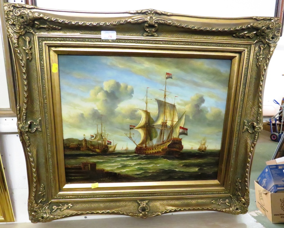 Lot 76 - OIL ON BOARD OF GALLEON SIGNED S WILSON LOWER RIGHT IN HEAVY DEEP SET GILT FRAME