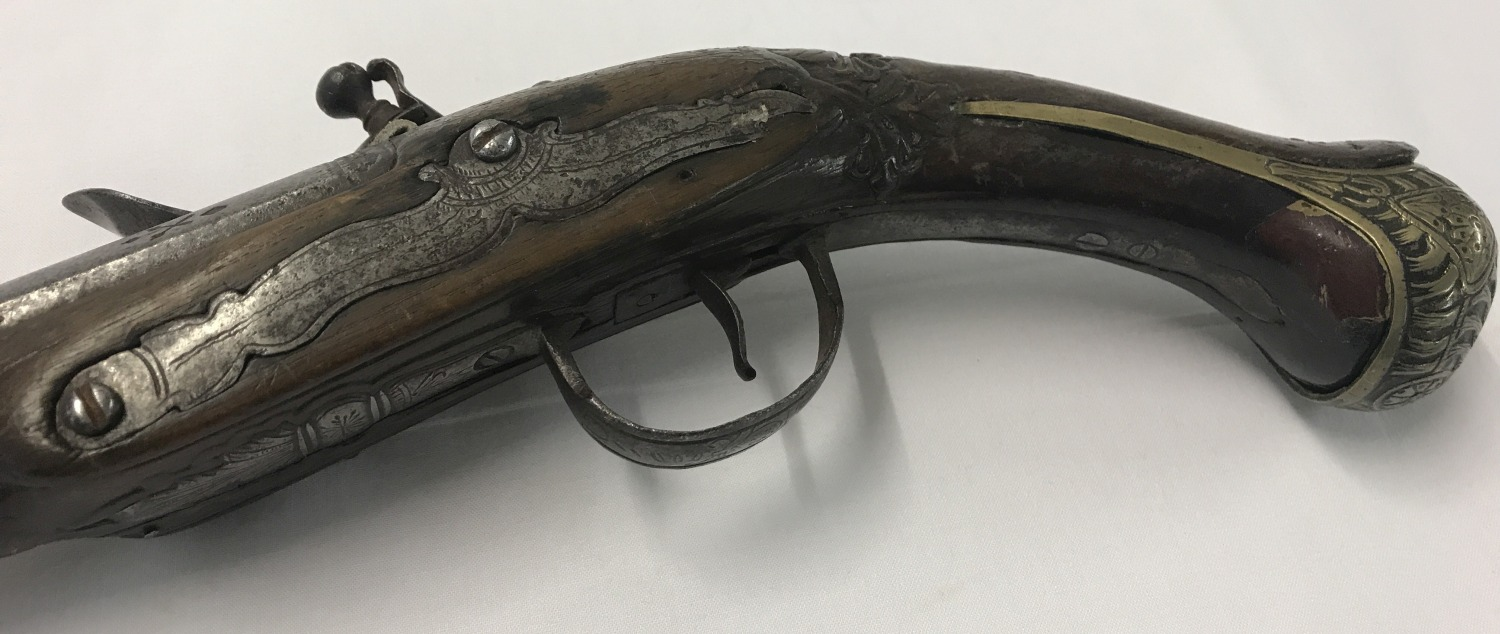 Lot 171 - A Turkish/Ottoman antique flintlock 20 bore pistol c 1790.